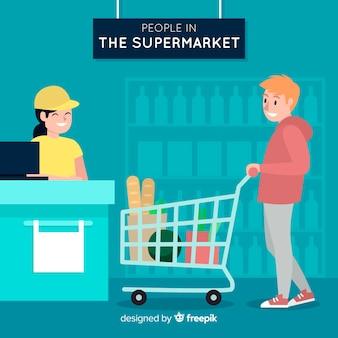 Fondo gente dibujada a mano comprando en el supermercado
