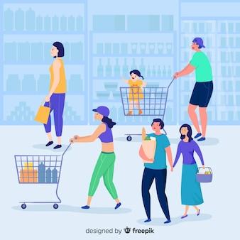 Fondo gente dibujada a mano en el supermercado