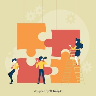 Fondo gente haciendo puzzle gigante