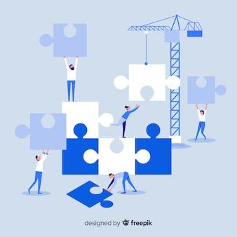 Fondo gente haciendo puzzle juntos
