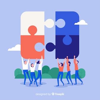 Fondo gente haciendo puzzle