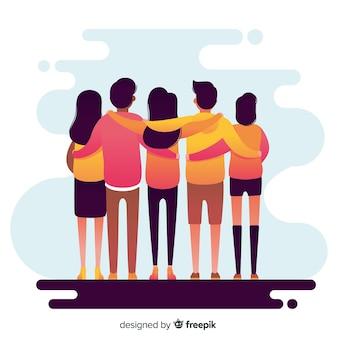 Fondo de gente joven abrazándose junta