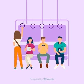 Fondo gente en el metro