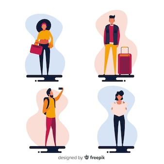 Fondo gente yéndose de viaje
