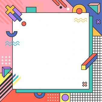 Fondo de geometría colorida frontera memphis