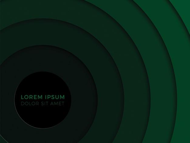 Fondo geométrico 3d con capas verdes de corte de papel realista. patrón de diseñó
