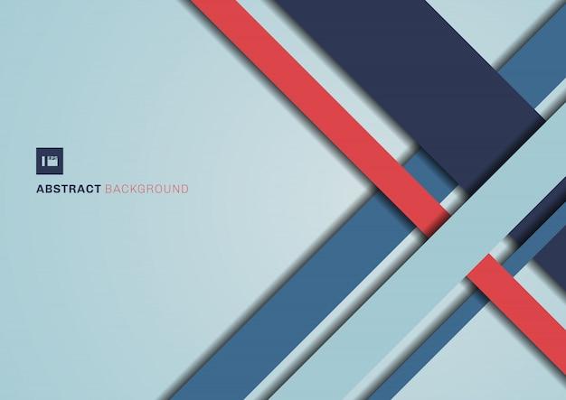 Fondo geométrico abstracto del color azul y rojo.
