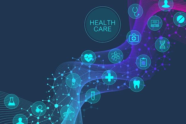 Fondo geométrico abstracto del concepto de la medicina y la ciencia