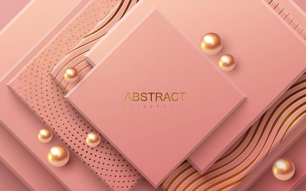 Fondo geométrico abstracto con cuadrados de color rosa suave y perlas doradas