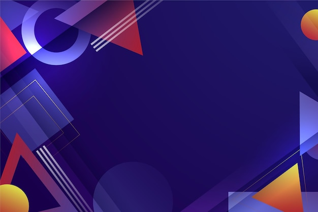 Fondo geométrico abstracto degradado con varias formas Vector Premium