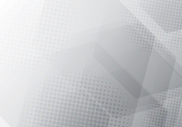 Fondo geométrico abstracto de hexágonos gris y blanco