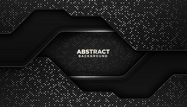 Fondo geométrico abstracto negro con decoración de elemento de puntos de brillos
