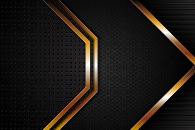 Fondo geométrico abstracto negro y oro.