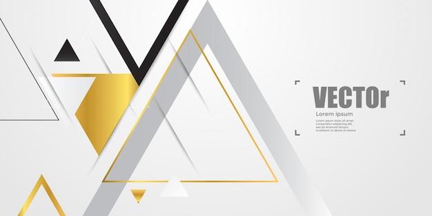 Fondo geométrico abstracto de oro con triángulos.