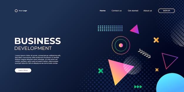 Fondo geométrico abstracto para la página de inicio de negocios con forma moderna y concepto de tecnología simple. plantilla de ilustración de vector de bloque de página de destino de diseño web corporativo.