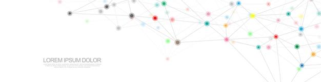 Fondo geométrico abstracto y puntos y líneas de conexión. conexión de red global. tecnología digital