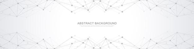 Fondo geométrico abstracto y puntos y líneas de conexión. conexión de red global.