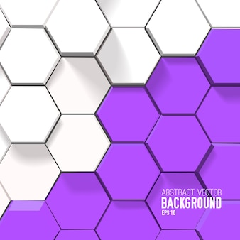 Fondo geométrico brillante con hexágonos blancos y morados