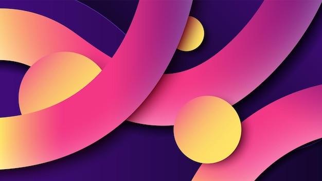 Fondo geométrico con círculos superpuestos abstractos y líneas con degradado multicolor