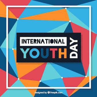 Fondo geométrico de colores del día de la juventud