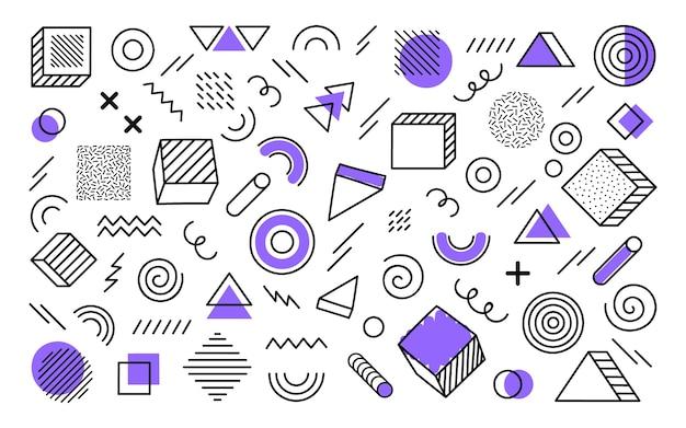 Fondo geométrico con diferentes formas abstractas dibujadas a mano. formas geométricas de semitono de tendencia universal con elementos violetas. ilustración moderna.