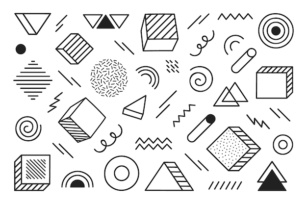 Fondo geométrico con diferentes formas abstractas dibujadas a mano. formas geométricas de semitono de tendencia universal. ilustración moderna.