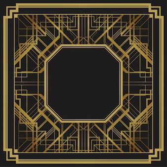Fondo geométrico del diseño de la frontera del marco del estilo del art déco