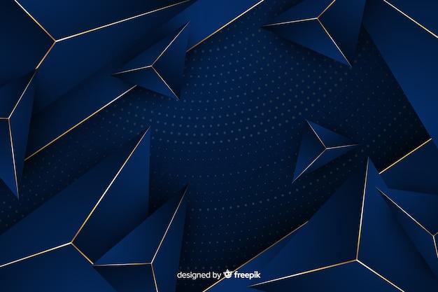 Fondo geométrico dorado y azul
