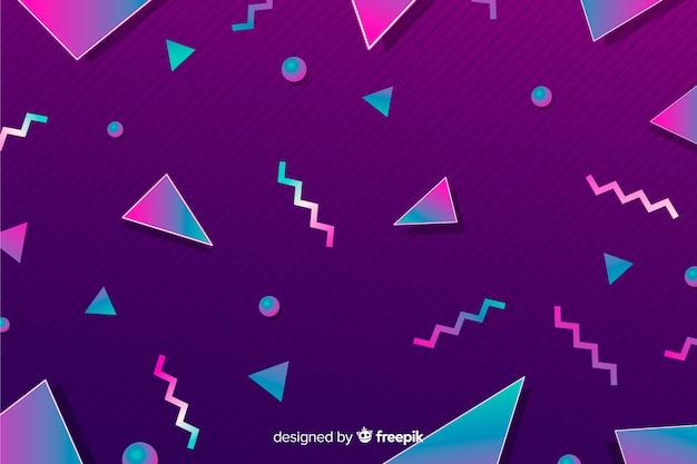 Fondo geométrico con estilo retro de los años 80s