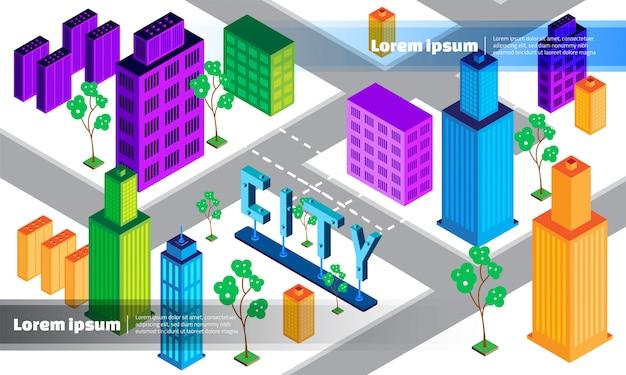 Fondo geométrico isométrico de la ciudad 3d
