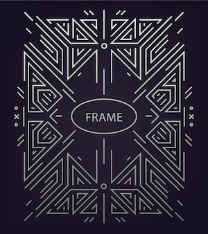 Fondo geométrico lineal abstracto, marco retro, plantilla.