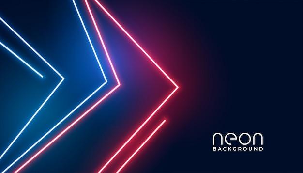 Fondo geométrico de las luces de neón del estilo de la flecha