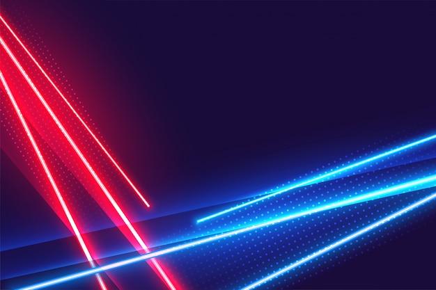 Fondo geométrico de luces de neón rojo y azul