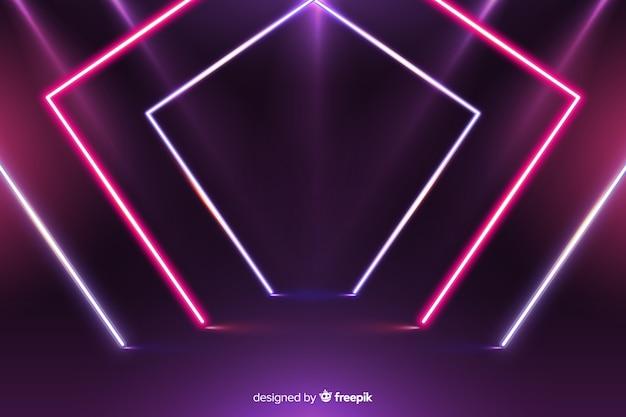 Fondo geométrico moderno de luces de neón