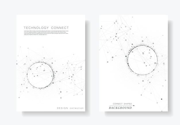 Fondo geométrico moderno con puntos y líneas conectadas.