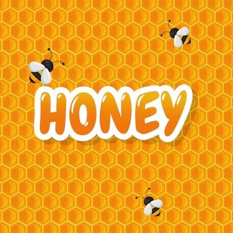 El fondo geométrico del panal tiene un dulce color amarillo miel para hacer una deliciosa panadería.