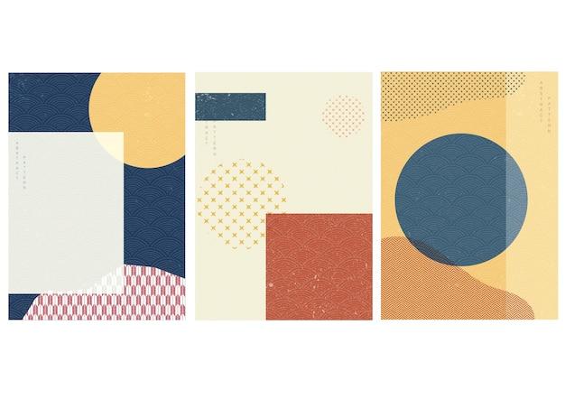 Fondo geométrico con patrón japonés. plantilla de forma de círculo con elemento abstracto en estilo vintage.