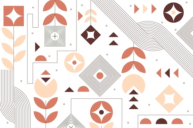 Fondo geométrico plano con elementos florales