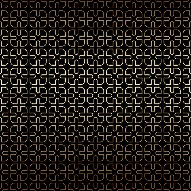 Fondo geométrico simple de patrones sin fisuras lineales dorados y negros, estilo art deco