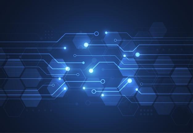 Fondo geométrico de tecnología abstracta con textura de placa de circuito.