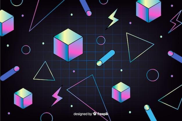 Fondo geométrico vintage con cubos