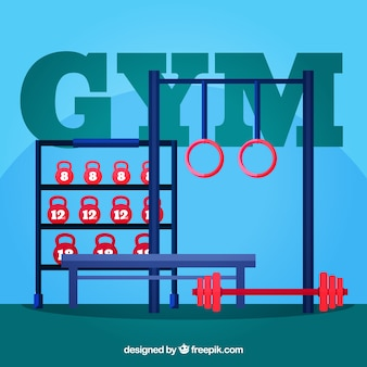 Fondo de gimnasio con diferentes máquinas para ejercitarse