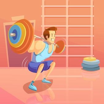 Fondo de gimnasio y levantamiento de pesas con hombre levantando una barra.
