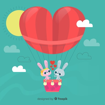 Fondo globo aerostático corazón
