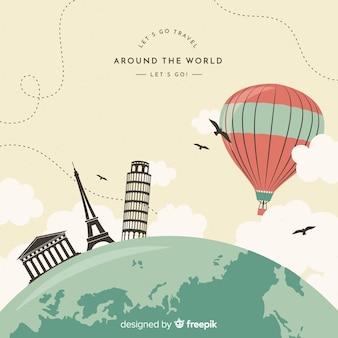 Fondo globo aerostático plano