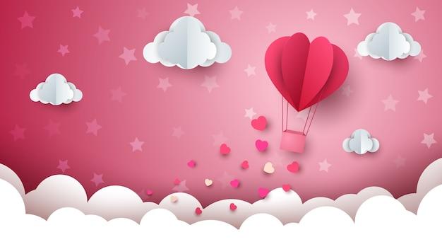Fondo de globo de aire caliente de san valentín