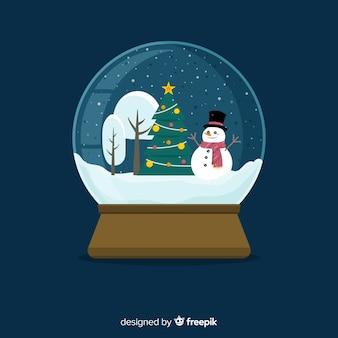 Fondo de globo de bola de nieve de navidad de diseño plano