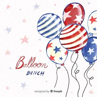 Fondo con globos del 4 de julio - día de la independencia en acuarela