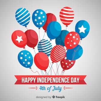 Fondo con globos del 4 de julio - día de la independencia en diseño plano