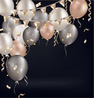 Fondo con globos aerostáticos, confeti, destellos.